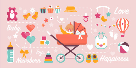 Cute newborn baby waving in a pram and childhood items: baby shower and birthday greeting card