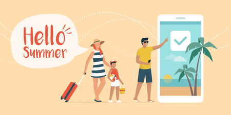 Happy family booking a summer vacation online Иллюстрация