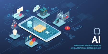 Smartphone innovativo con infografica vettoriale di applicazioni AI Vettoriali