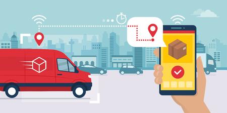 Aplicación de servicio de entrega rápida en teléfono inteligente: camioneta que entrega una caja y un hombre rastrea un pedido con su teléfono inteligente, calle de la ciudad