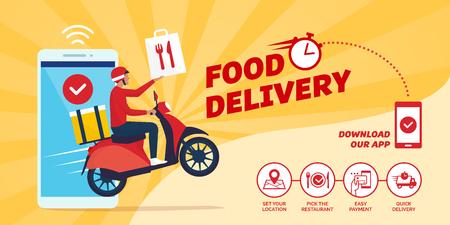 Aplicación de entrega de comida rápida en un teléfono inteligente con repartidor en una scooter: cómo pedir comida en línea