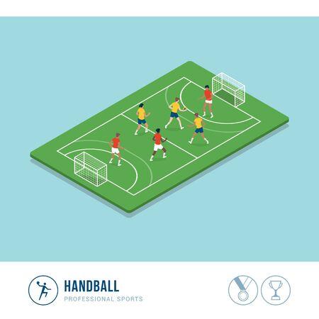 Competición deportiva profesional: partido de balonmano y jugadoras corriendo y lanzando pelota