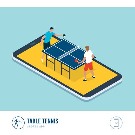 Professional sports competition: table tennis players during a match, mobile app Иллюстрация