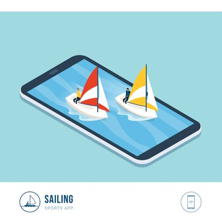 Professional sports competition: sailing boats in the sea, mobile app