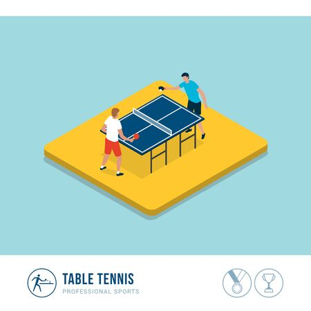 Professional sports competition: table tennis players during a match