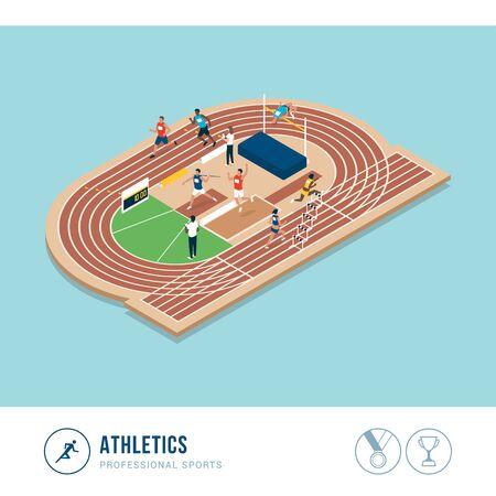 Competencia deportiva profesional: atletismo, atletas profesionales actuando juntos Ilustración de vector