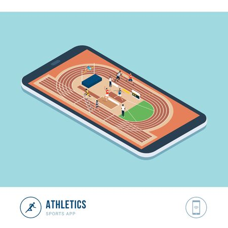 Professional sports competition: athletics, professional athletes performing together in athletics competitions Illustration