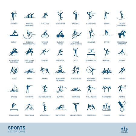 Sports disciplines icons  with vector stick figure symbol Иллюстрация