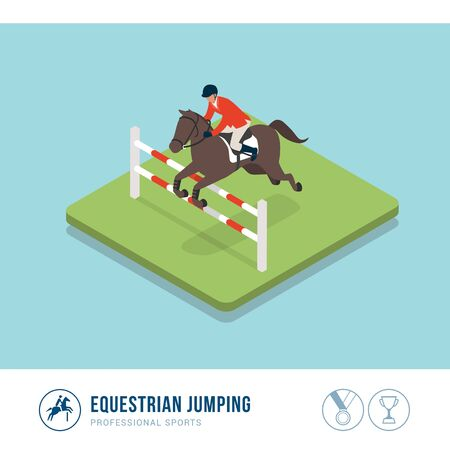 Professional sports competition: equestrian horse riding Иллюстрация