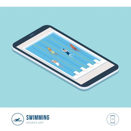 Professional sports competition: swimming, professional swimmers competition in a pool, mobile app