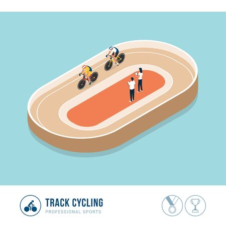 Professional sports competition: track cycling, cyclists riding a bicycle during a race