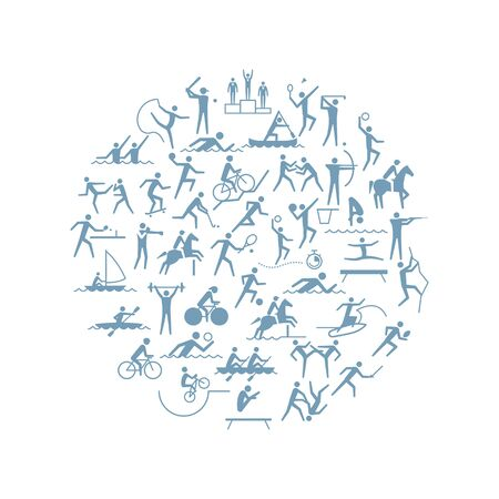 Sport games disciplines icons in a circular shape