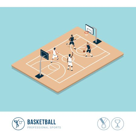 Professional sports competition: basketball match and players in the court