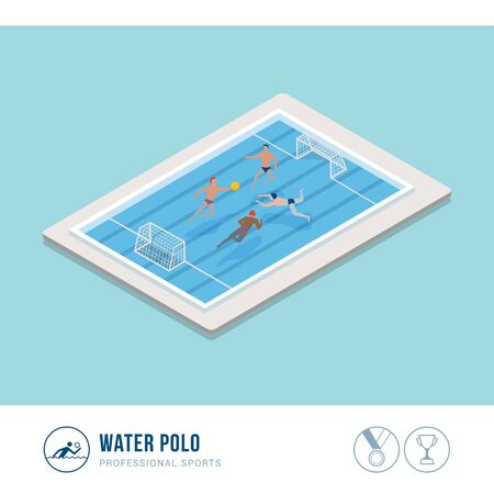Professional sports competition: water polo players playing in the pool