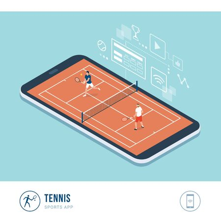 Professional sports competition: tennis players during a match, mobile app Иллюстрация