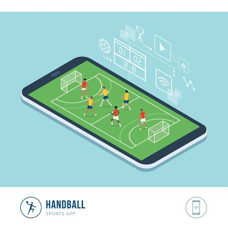 Professional sports competition: handball match and female players running and throwing ball, mobile app