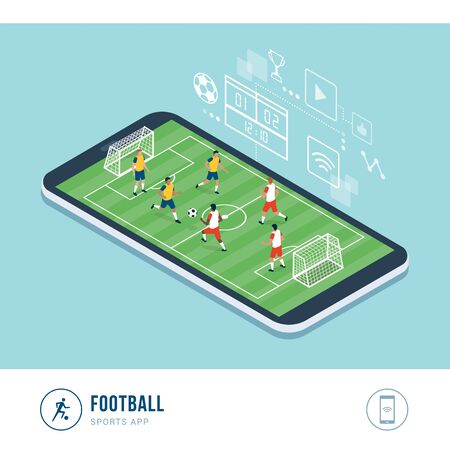 Professional sports competition: football match, football teams playing together in a championship, mobile app