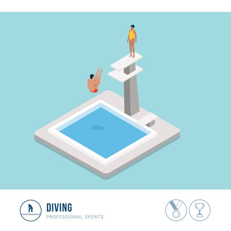 Professional sports competition: diving, professional diver jumping from a platform