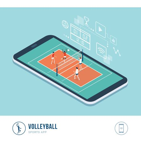 Professional sports competition: volleyball match with female players, mobile app