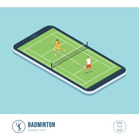 Professional sports competition: badminton, two players hitting the shuttlecock with their racquets, mobile app