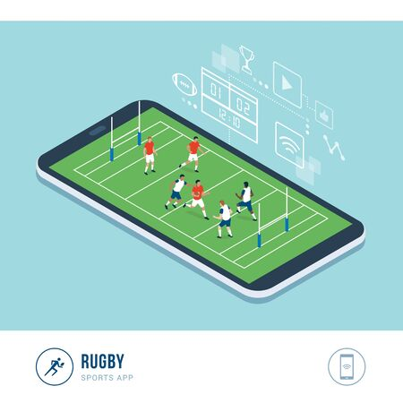 Professional sports competition: rugby players during a match, mobile app Иллюстрация