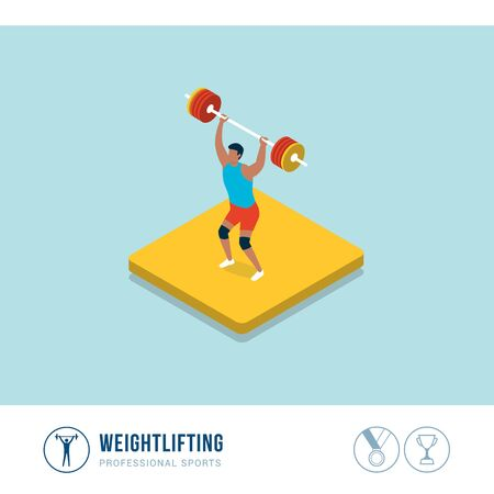 Professional sports competition: weightlifting, muscular athlete lifting weights Иллюстрация