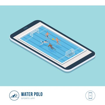 Professional sports competition: water polo players playing in the pool, mobile app