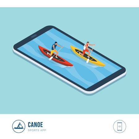 Professional sports competition: canoers paddling in a canoe race, mobile app