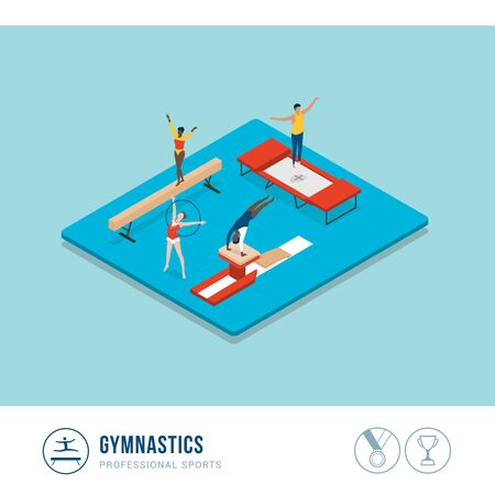 Professional sports competition: gymnastics, athletes performing with balance beam, vault and trampoline