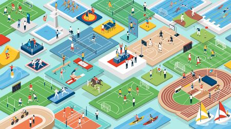Sports and international competitions: multiethnic professional athletes and teams performing together, isometric people, fields and equipment