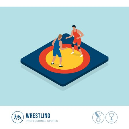 Professional sports competition: wrestling, athletes fighting together in the ring Иллюстрация