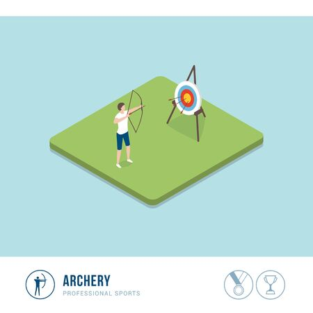 Professional sports competition: woman shooting with arrow and bow, archery sport Çizim