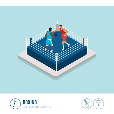 Professional sports competition: opponents boxing in the ring Çizim