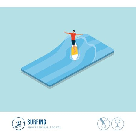 Professional sports competition: surfing, man riding a surfboard