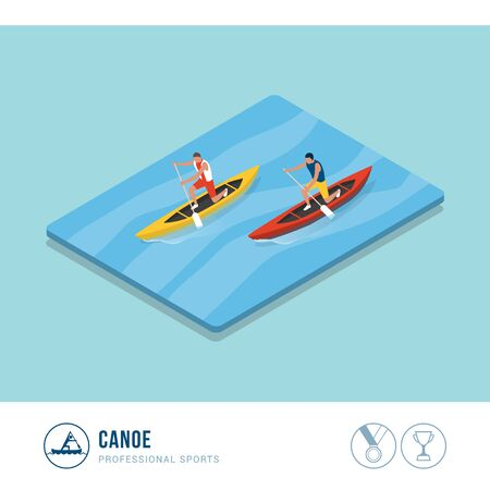 Professional sports competition: canoers paddling in a canoe race Иллюстрация