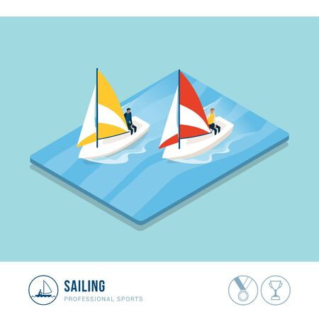 Professional sports competition: sailing boats in the sea