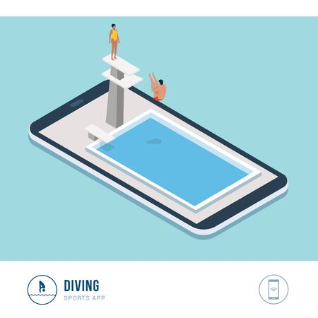 Professional sports competition: diving, professional diver jumping from a platform, mobile app Ilustración de vector
