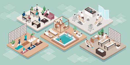 Wellness beauty luxury spa treatments and people relaxing Illustration