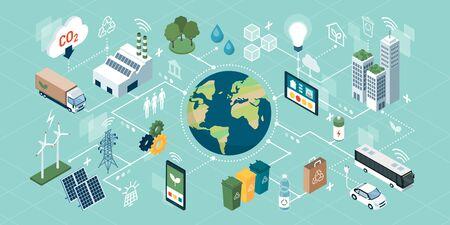 Tecnologías verdes innovadoras, sistemas inteligentes y reciclaje para la sostenibilidad ambiental, red de conceptos isométricos Ilustración de vector