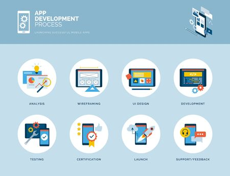 App design and development process infographic with icons Иллюстрация