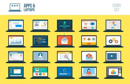 Set of laptops with different apps and services Ilustração