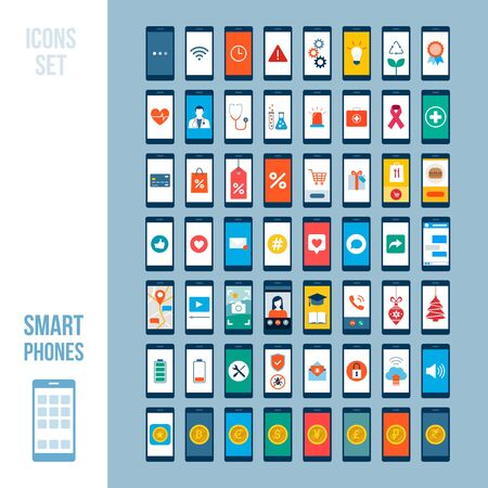 Set of smartphones with different apps and icons