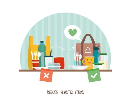 Green living and sustainability tips: reduce plastic items at home and choose reusable products