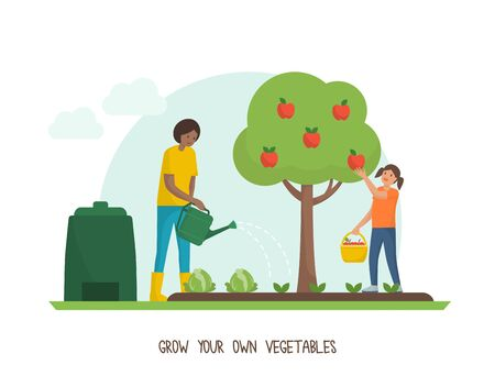 Green living and sustainability tips: grow your own vegetable garden at home Banque d'images - 133140662