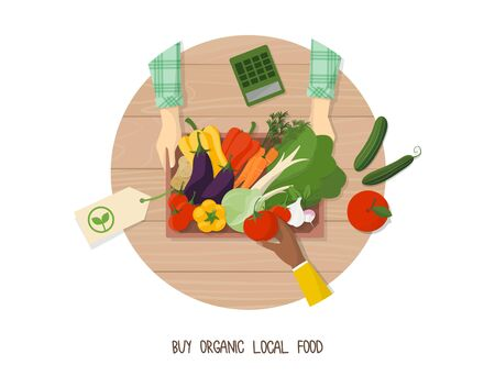 Green living and sustainability tips: buy organic local food at farmers market 免版税图像 - 132773656