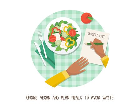 Green living and sustainability tips: go vegan and plan your meals to avoid food waste Illusztráció