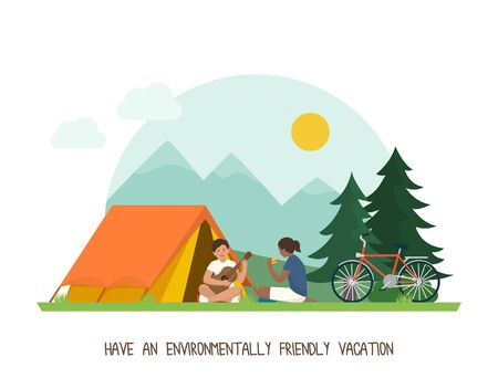 Green living and sustainability tips: environmentally friendly vacations outdoors with tent and bicycles