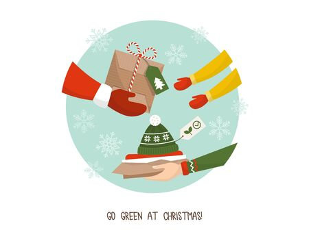 Green living and sustainability tips: wrap gifts with recycled paper and choose useful eco-friendly gifts Ilustração