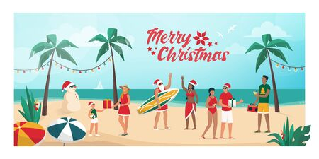 People celebrating Christmas on summer in the southern emisphere, they are partying on the beach and exchanging gifts