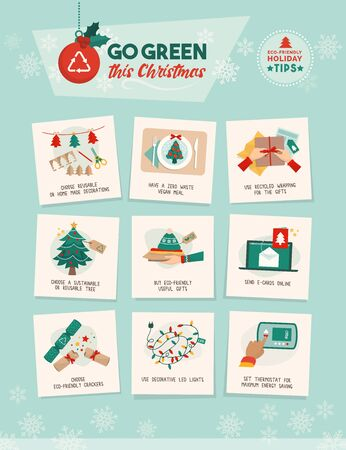 Go green this Christmas: how to have a sustainable eco-friendly holiday at home vector infographic with easy tips